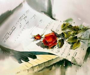 flower, painting, and piano image