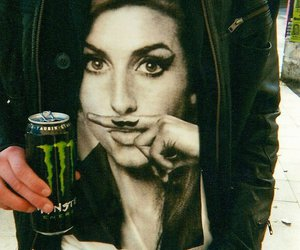 Amy Winehouse, black and white, and monster image