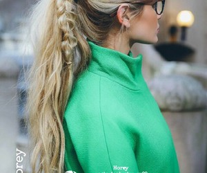 fashion, green, and blonde image