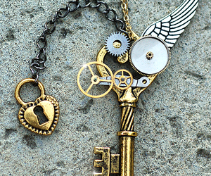 key, gold, and heart image