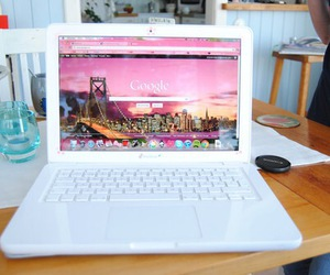 laptop, google, and pink image