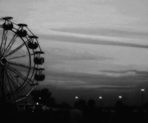 black, ferris wheel, and night image