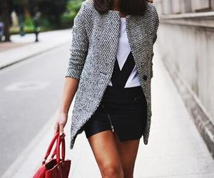 black, coat, and white image