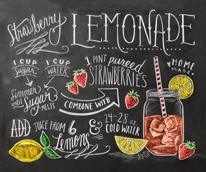 recipe, lemonade, and strawberry image