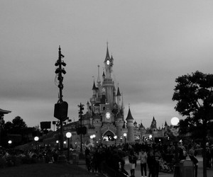 black and white, castle, and disney image