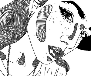 black and white, eyes, and outline image