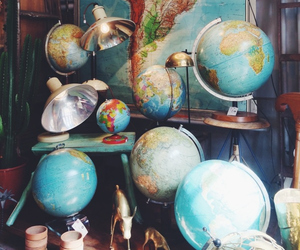 globe, map, and vintage image