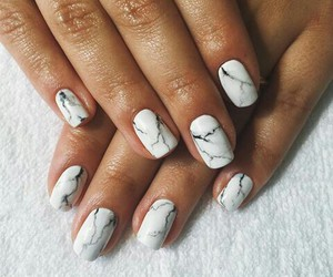 white, nailart, and marbel image