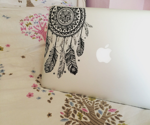 bedroom, dream catcher, and laptop image