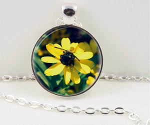 flower pendant, bee necklace, and bee pendant image