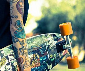 tattoo, skate, and longboard image