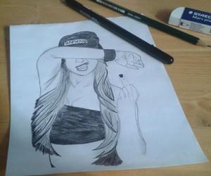 art, bad girl, and black&white image