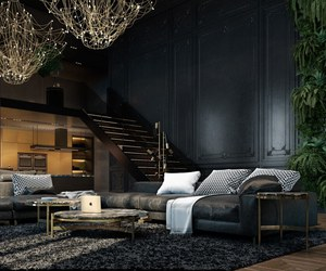 home, interior, and dark image