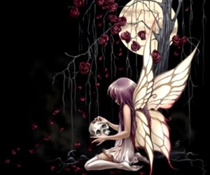 fairy, dark, and skull image