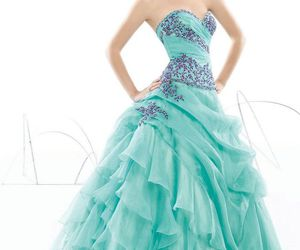 ball gown, dress, and flowers image