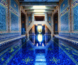 blue, pool, and architecture image