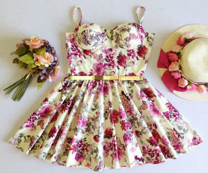 clothes, floral print, and dress image