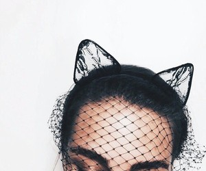girl, cat, and black image