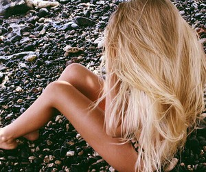 blonde, long hair, and summer image