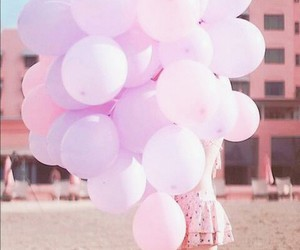 balloons, pink, and beach image