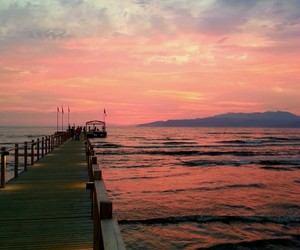 like, sunset, and pier image