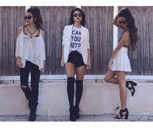 black and white, grunge, and outfit image