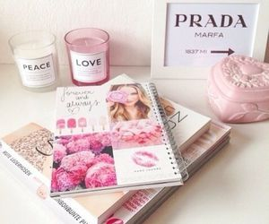 books, notebook, and pink image