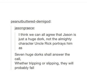 percy jackson, tumblr post, and jason grace image