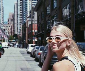 sunglasses, blonde, and city image