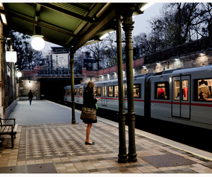 girl, station, and train image