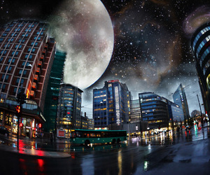 city, moon, and light image