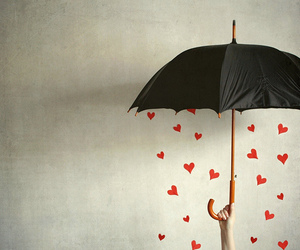 umbrella, love, and hearts image