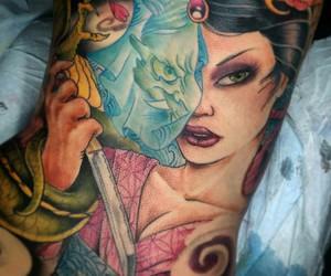 abstract tattoo, japanese tattoo, and geisha tattoo image