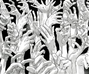 hands, manga, and monochrome image