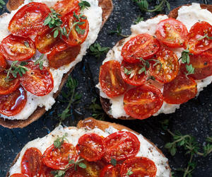 crostini, tomato, and ricotta image