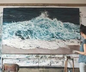 art, sea, and painting image