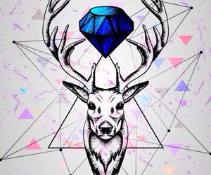 deer, diamond, and wallpaper image