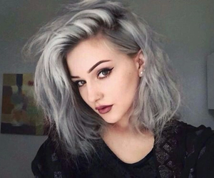 hair, grey, and makeup image