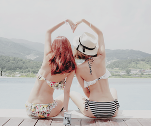 bikini, fashion, and friend image