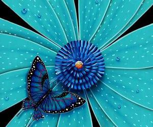 flowers, blue, and butterfly image