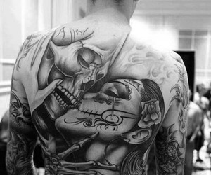 tattoo, skull, and kiss image