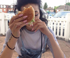 burger, girl, and good image