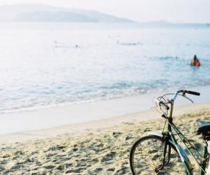 beach, bike, and sea image
