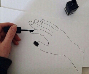 art, nails, and black and white image