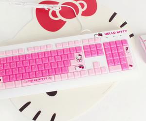 hello kitty, kawaii, and keyboard image