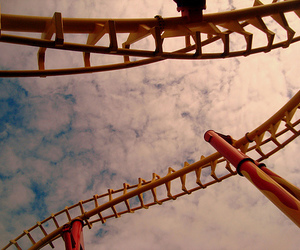 rollercoaster, sky, and clouds image