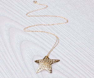 gold star necklace, best friend gift, and long necklace image
