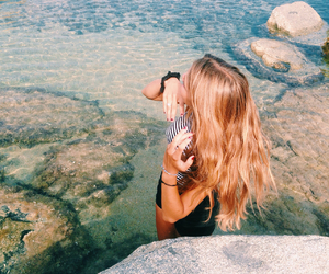 beach, hair, and sumer image
