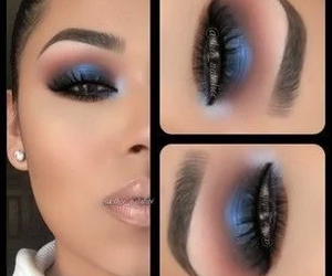 makeup, beauty, and blue image