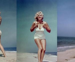 Marilyn Monroe, beach, and vintage image